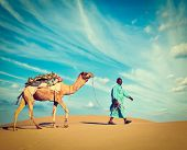 image of camel  - Vintage retro hipster style travel image of Rajasthan travel background  - JPG