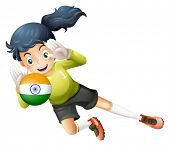 Illustration of a female player using the ball with the flag of India on a white background