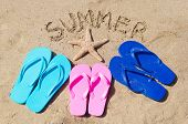stock photo of starfish  - Summer background with flip flops starfish and sign  - JPG