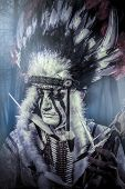 stock photo of indian chief  - American Indian warrior - JPG