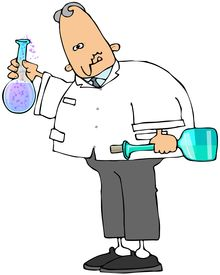 pic of mad scientist  - This illustration depicts a scientist holding two glass beakers of bubbling chemicals - JPG