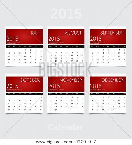 Simple 2015 year calendar (January, February, March, April, May, June). Vector illustration.