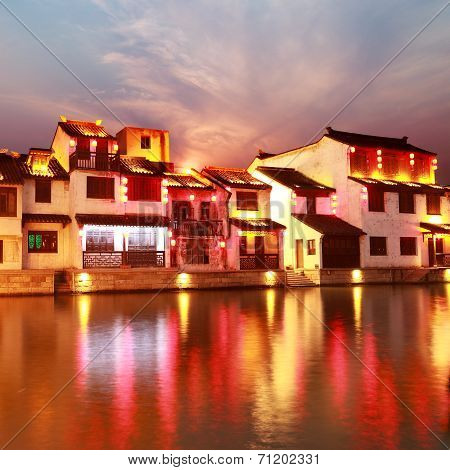 Beautiful Chinese Water Town At Night
