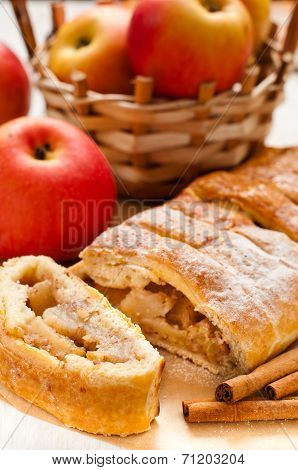 Slice Of An Apple Strudel On The Table