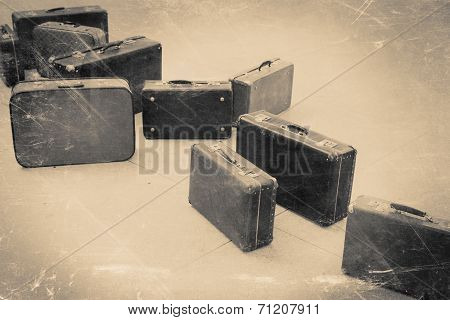 Group Of Vintage Suitcase On Tiled Floor, Retro Stylized