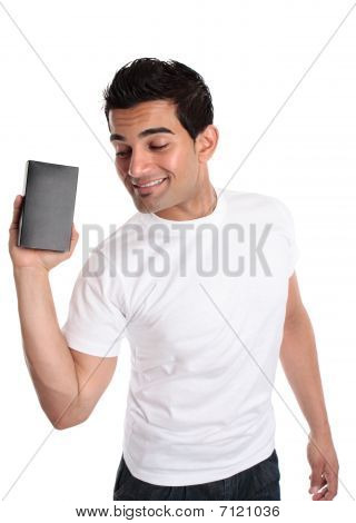Man Promoting Selling A Boxed Product