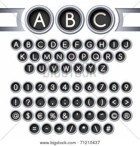 Typewriter buttons alphabet