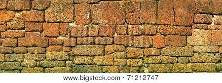 Old Stone Block Wall. Thailand, Ayutthaya. Panoramic Photo
