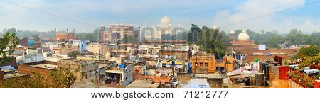 Panorama Of The Ancient Agra City. The Famous Mausoleum Taj Mahal In The Background