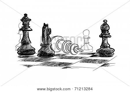 Conceptual sketch image with chess pieces on white background