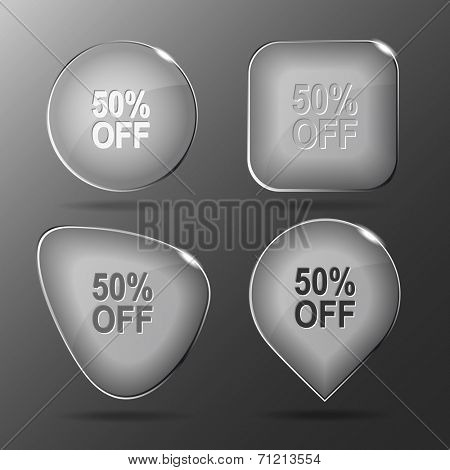 50% OFF. Glass buttons. Raster illustration.