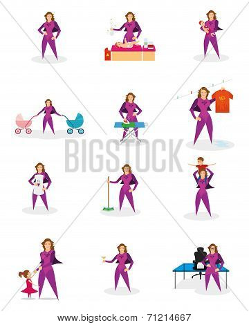 a set of super mom doing different actions
