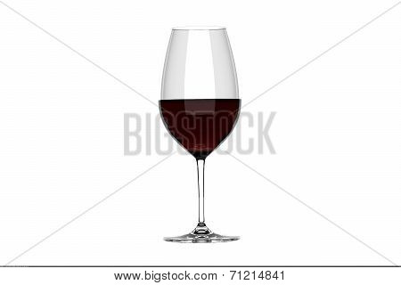 Glass Of Red Wine Isolate On White