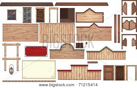 Old west town elements. Vector clip art illustration with simple gradients. Each element on a separate layer.