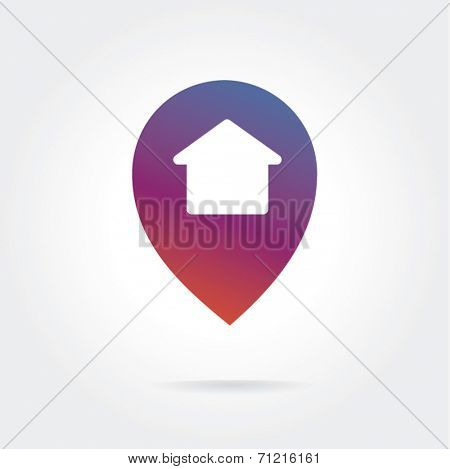 House colored icon isolated on white