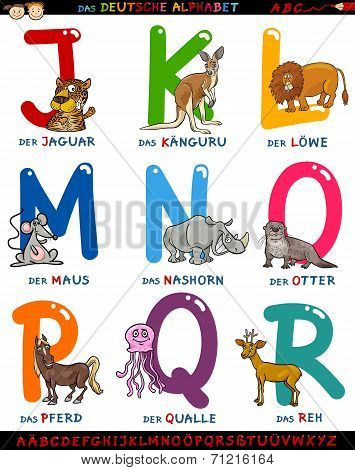 Cartoon German Alphabet With Animals