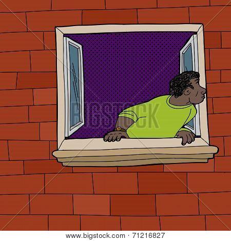 Black Man Looking Through Window