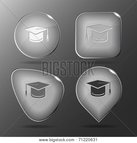Graduation cap. Glass buttons. Raster illustration.