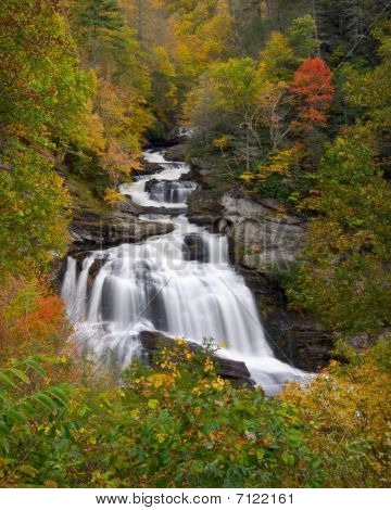 Cullasaja Falls Waterfall In Autumn Fall Foliage