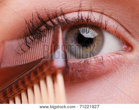 Closeup Part Of Woman Face Eye Makeup Detail.