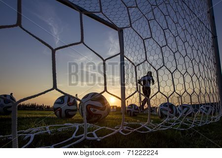 Greek Superleague Brazuca (mundial) Balls In Net During Paok Training In Thessaloniki, Greece.