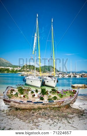 Yachts at  Valtos beach near Parga town of Syvota area in Greece.