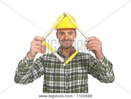 Manaul Worker With Meter Tool
