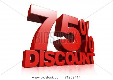 3D Render Red Text 75 Percent Discount