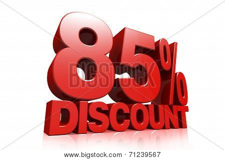 3D Render Red Text 85 Percent Discount