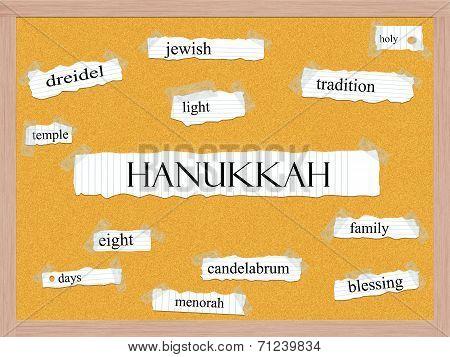 Hanukkah Corkboard Word Concept