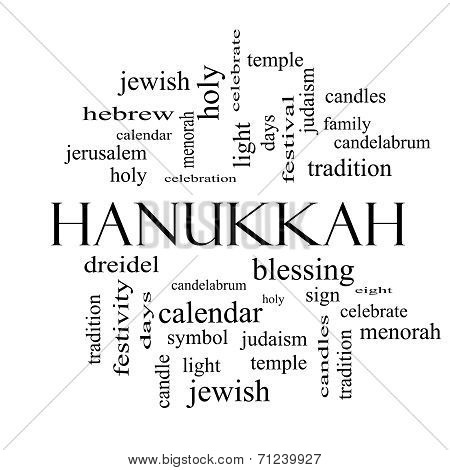 Hanukkah Word Cloud Concept In Black And White