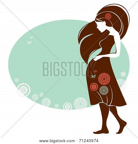 Design of card with silhouette of pregnant woman