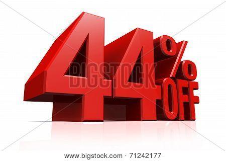 3D Render Red Text 44 Percent Off.