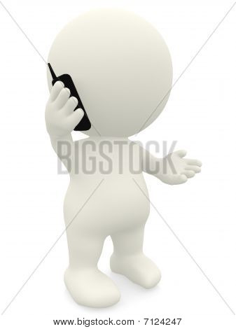 3D Person On The Phone