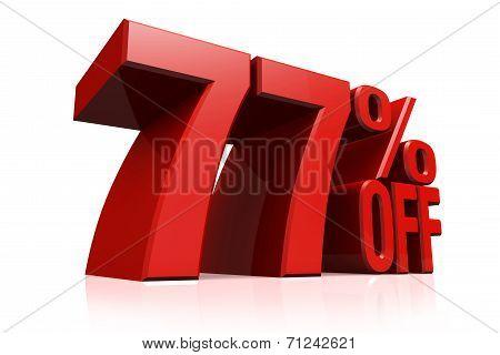 3D Render Red Text 77 Percent Off.