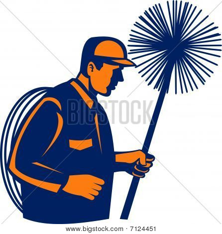 Chimney sweeper or cleaner holding sweep