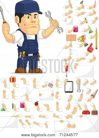 Strong Mechanic Customizable Mascot Set