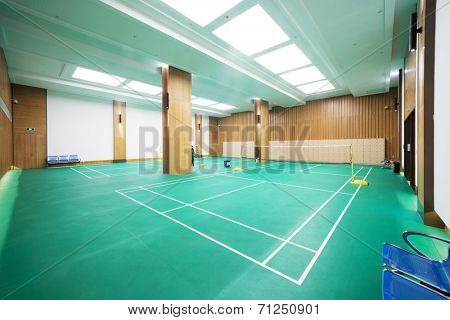 bright badminton court