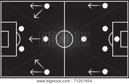 Football Field With 4-4-2 Formation