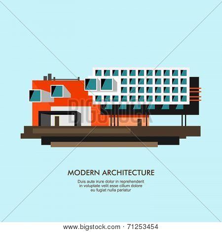 Modern flat architecture facade  illustration
