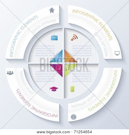 Abstract Infographic Design With Circle And Four Segments. Vector Illustration Can Be Used For Web D