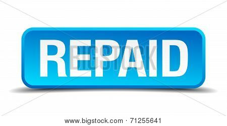 Repaid Blue 3D Realistic Square Isolated Button