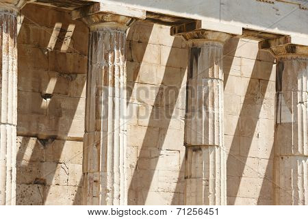Doric Columns In The Temple Of Ephesto In Athens. Greece