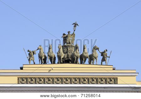 ST. PETERSBURG, RUSSIA - JUNE 30, 2008: Chariot of Glory on the arch of the General Staff building. Created in 1828, the sculptural group was restored several times, last time in 2000-2003
