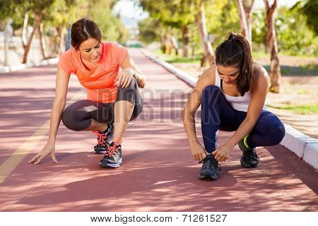 Tying Shoes Before A Run