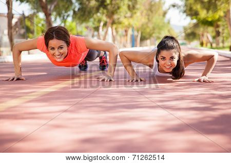 Cute Girls Doing Pushups