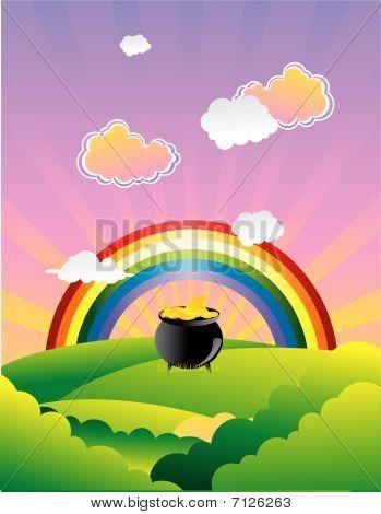 olla de oro bajo el arco iris