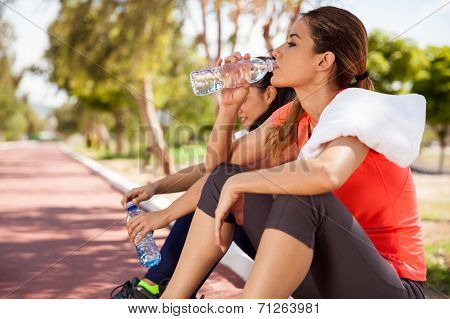 Relaxing And Drinking Water
