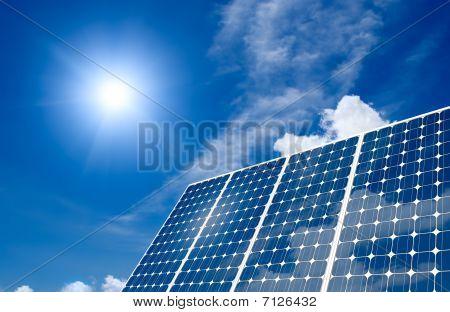 Solar-Panel und sun