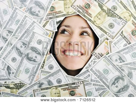 Woman Looking Trought Hole On Money Bacground